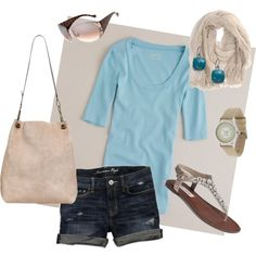 casual t and jean short, created by stantau on Polyvore