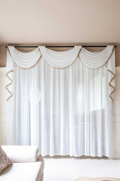 The curvy floral patterns make this sheer voile curtain delicate and airy. Sheer Valances, White Sheer Curtains, Voile Curtains, Curtains Living, Hanging Curtains, Curtains With Valance, Drapery, Curtain Styles, Curtain Designs