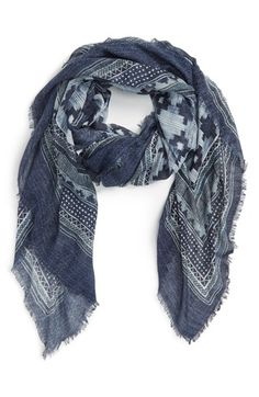 Treasure&Bond 'Indigo Americana' Scarf available at Nordstrom, navy combo acrylic Mood Indigo, Oversized Scarf, Scarf Styles, Pattern Fashion, Scarf Wrap, Knitted Hats, How To Look Better, Menswear, Nordstrom