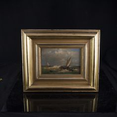 "Lot #106: ""Wild Sea Scape"" Oil on Canvas Painting by  Johannes Cristian Schotel(Dutch 1787-1838). Superb oil in canvas painting by Johannes Cristian Schotel, one of the most important sea painters of his time. Features two sail boats, sailing through rough seas and a row boat travelling off shore toward white capped waves all under a cloudy blue sky. Signed: ""Schotel"" on the lower right hand corner and in original gilt wood frame.  CIRCA: Late18th-19th Ct. ORIGIN: Holland DIMENSIONS: With…"