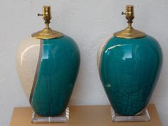 Pair Large Marc Ward Raku Crackle Lamps with Lucite Bases, Blue and White on Etsy, $1,499.00
