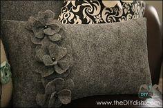 how to make felt flower pillows - theDIYdish.com, via Flickr.