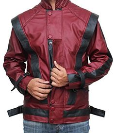 Michael Jackson Leather Jacket - Red Thriller Leather Jacket at Amazon Men's Clothing store:
