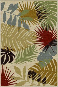 Orian Harmony Tropical Shadows khaki Area Rug