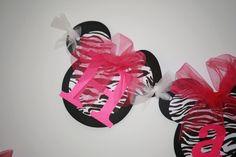 DYI Happy Birthday Zebra Minnie Mouse Banner, Pink Birthday Banner Handmade Kit, Do it Yourself Disney Princess Party Decorations.