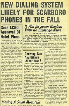 Scarborough Newspaper Articles 1960 - 1995: 1960 - Telephone Exchanges become Numerical
