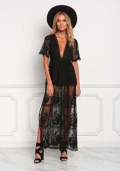 Black Lace Dress Black Lace Plunge Slit Maxi Dress - Little Black - Dresses Lace Maxi, Lace Dress Black, Maxi Dress With Sleeves, Sheer Dress, Boho Dress, Lace Bra, Dress Outfits, Fashion Dresses, Maxi Dresses