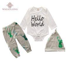 Wasailong Spring and autumn baby boy hello world cotton set 3pcs(Jumpsuit + pants + hat) Children's clothes #Affiliate