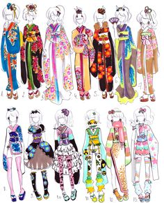 New kimono designs for your female /trap boy OCs : ) The row is traditional style, row is the kimono-fusions, Treat your OC or buy them as an ad. Manga Clothes, Drawing Anime Clothes, Drawing Base, Manga Drawing, Fashion Design Drawings, Fashion Sketches, Kimono Design, Anime Dress, Anime Kimono