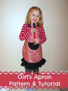 Kid's Apron Free Pattern & Tutorial ~ would be so cute as a Christmas gift with cupcake mix, mini cupcake pan, etc., stuffed into the pocket before folding and wrapping the apron.