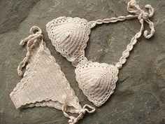 Crochet bikini set in cream Gift for her Crochet by MarryG on Etsy