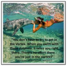 You don't have to try to get in the Vortex. When you swim with those dolphins, it takes you right there. There's no effort there - you're just in the Vortex! *Abraham-Hicks Quotes (AHQ937)