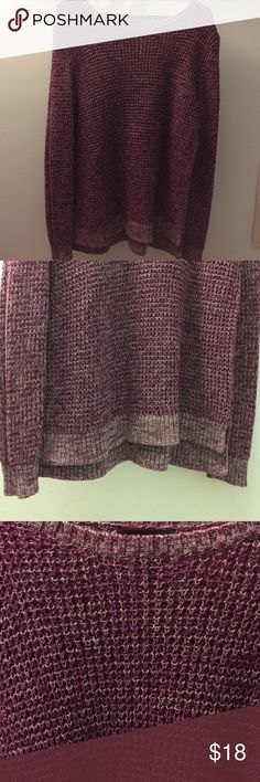 Burgundy sweater Burgundy and white sweater.   Slightly longer in back.   Excellent slightly worn condition. ana Sweaters Crew & Scoop Necks