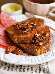 """Pecan French Toast•6 pcs sliced grain free bread, sliced ¾"""" thick •1 large egg •¼ cup almond milk •¼ tsp vanilla extract •½ + ¼ tsp ground cinnamon •1 tbsp coconut oil •4 tbsp pecans, toasted •½ tsp coconut sugar •2 tbsp grass fed butter, softened •2 tbsp raw honey"""