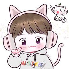 Baekhyun <credits to owner> Sehun, Kai Exo, Chanbaek Fanart, Baekhyun Fanart, Exo Cartoon, Cartoon Fan, Exo Stickers, Exo Anime, Korean Art