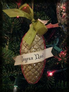 JOYEUX NOEL vintage inspired german pinecone by crepeconfectionary, $20.00