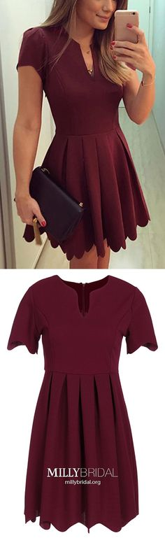 Short Prom Dresses With Sleeves,Burgundy Homecoming Dresses Short,Simple Prom Dresses A-line,Elegant Prom Dresses Satin with Ruffles
