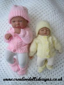 Knitting Pattern Premature Baby Dolls To Knit Cable Cardigan Hat Boots Knitted Doll Patterns, Baby Sweater Knitting Pattern, Knitted Dolls, Baby Knitting Patterns, Baby Patterns, Knitted Baby Cardigan, Knitting Yarn, Preemie Clothes, Knitting Dolls Clothes