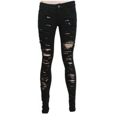 Skinny trousers K-134 PUNK RAVE, black, frayed skinny jeans, gothic (€39) ❤ liked on Polyvore