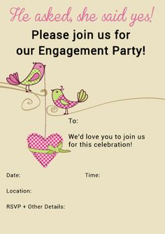 sophisticated free printable engagement invitations template, party invitations