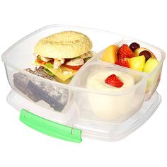 Sistema Green Triple-Split Lunch-to-Go Container ($8.99) ❤ liked on Polyvore featuring home and kitchen & dining