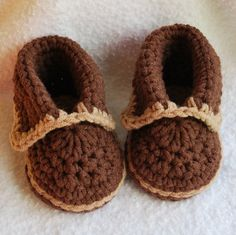 crochet Chocolate/Tan moccasins shoes U pick by BitofWhimsyCrochet, $19.99