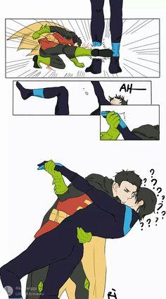 XD this is just funny! I love it Damidick Batman Y Superman, Batman Robin, Spiderman, Damian Wayne, Batman Gato, Robin Dc, Bat Boys, Superhero Kids, Dc Memes