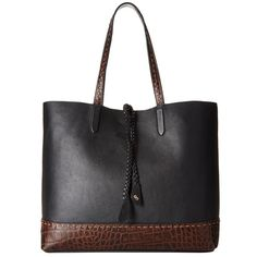 Cole Haan Pinch Braiding Tote (Black/Chocolate Multi) Tote Handbags ($280) ❤ liked on Polyvore featuring bags, handbags, tote bags, tote handbags, cole haan tote, cole haan handbags, woven leather tote and genuine leather tote