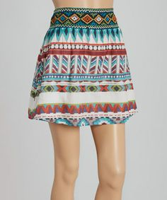 Look what I found on #zulily! Turquoise Embroidered Miniskirt #zulilyfinds