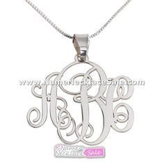 3 Letters Silver Monogram Necklace $34 http://www.namenecklacesale.com/3_letters_silver_monogram_necklace.html