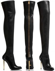 8813bf563a7 Ariana Grande in Tom Ford Nappa Stretch Leather Metal Stilleto Over-The-Knee  Boots