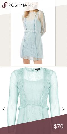 Topshop light blue lace dress New without tag! Topshop light blue lace dress. Absolutely gorgeous on everyone:) Topshop Dresses Long Sleeve