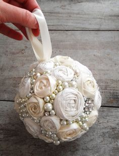 ivory rosette rhinestone and pearls pomander by missbettylou 50 00 brooch bouquet Wedding Themes, Our Wedding, Wedding Decorations, Flower Girl Basket, Flower Girls, Broach Bouquet, Flower Ball, Pearl Flower, Bride Bouquets