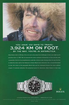 Rolex Explorer II Alain Hubert 2004 Ad via Rolex 116234, Gold Rolex, Sport Watches, Cool Watches, Watches For Men, Vintage Rolex, Vintage Watches, Concord Watches, Benrus Watch