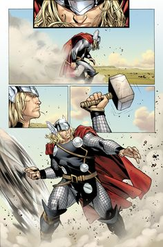 THOR by J. Michael Straczynski and Olivier Coipel Marvel Comics Art, Marvel Heroes, Marvel Avengers, Comic Book Artists, Comic Artist, Comic Books Art, Thor 2, The Mighty Thor, Comic Panels