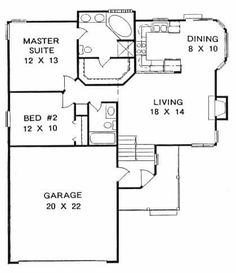 This pleasing multi-level or split level home with a small footprint has over 1000 sq ft of living space. The one story floor plan includes 2 bedrooms. room over the garage? House Plans One Story, Best House Plans, Country House Plans, Tiny House Plans, House Floor Plans, Small House Plans Under 1000 Sq Ft, Story House, 2 Bedroom House Plans, Home Decor Bedroom