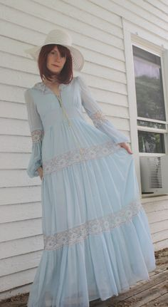 Vintage Gunne Sax 70s Blue Corset Prairie Dress S 9 by soulrust, $89.99