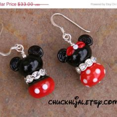 FLASH SPRING SALE Magical Couple Disney Inspired One Mickey and One Minnie Mouse Lampwork DeSIGNeR EaRRiNgs