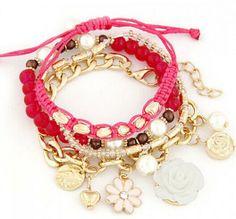 Sweet Pearl Layered Beads Flower Pendant Bracelet