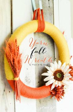 YARN FALL WREATH - Make this gorgeous wreath by using colorful yarn and fake flowers. Wreath Crafts, Diy Wreath, Wreath Ideas, Fall Wreaths, Christmas Wreaths, Door Wreaths, Autumn Decorating, Decorating Ideas, Fake Flowers