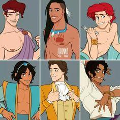 Genderbent female Disney characters. Disney.