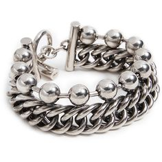 Alexander Wang Ball Chain Curb Chain Stacked Bracelet ($500) ❤ liked on Polyvore featuring jewelry, bracelets, silver, grunge jewelry, stackers jewellery, stackers jewelry, chunky jewelry and chunk jewelry