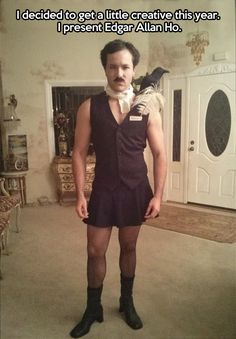 Is anyone in the world going to come up with a better Halloween costume than Edgar Allen Ho? // lol this is hilarious and clever Pun Costumes, Punny Halloween Costumes, Hallowen Costume, Costume Ideas, Halloween Ideas, Halloween Party, Halloween 2015, Literary Costumes, Crazy Costumes
