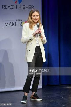 Olivia Palermo speaks onstage during MTV's 2017 College Signing Day With Michelle Obama at The Public Theater on May 5 2017 in New York City