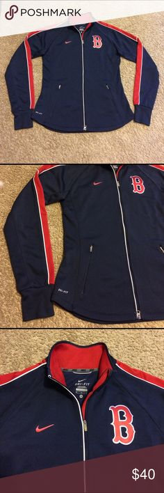 Women's MLB Nike Boston Red Sox Dri-Fit Jacket Women's MLB Nike Boston Red Sox Dri-Fit, Zippered Front, Warm Up Track Jacket  Brand - Nike Condition - Excellent used condtion. No holes, stains or rips Size - Medium Color - Blue w/ red trim Material - 100% Polyester Nike Sweaters