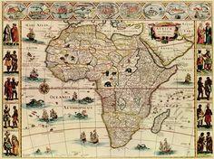 Ancienne Carte d'Afrique: Africae Nova Deferiptio, Guilielmo Blaeuw