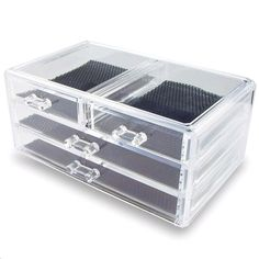 "Ikee Design® Acrylic Jewelry & Cosmetic Storage Display Box 9 3/8"" x 5 3/8"" x 4 3/8""H"