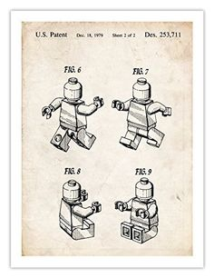 LEGO 3D MINIFIGURE POSTER Toy Building Construction Blocks 1979 US Patent Art Print Mini Figure Minifig Gift Reproduction The Lego Movie, 18 by 24 Inches  Price : $19.95 http://stevesposterstore.hostedbywebstore.com/MINIFIGURE-Building-Construction-Minifig-Reproduction/dp/B00JOFR5DW