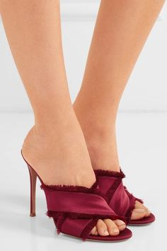 Heel measures approximately 105mm/ 4 inches Crimson satin Slip on  Designer color: Granata Made in Italy