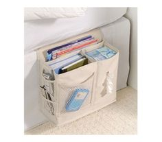 Bedside Storage Caddy  is consider a top must have dorm room essential product. Some dorm stuff like our bedside caddy is a real need.  Without this convenient products students must jump in and out of bed for the smallest of things.  Cheap dorm product!